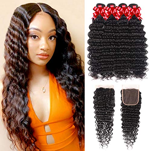Brazilian Virgin Hair Deep Wave Bundles with Closure 100% Unprocessed Human Hair 3 Bundles with 4x4 Lace Closure Wet and Wavy Bundles with Closure Can Be Dyed and Bleached (18 20 22 24+16)