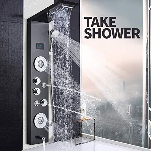 JUNSHENG LED Panel de Ducha de Acero Inoxidable Columna con Pantalla LCD para Baño de Hidromasaje Ducha Moderna 5 Función Cascada Ducha Sistema de Torre de Panel de Ducha de Negro