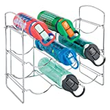 mDesign Metal Wire Free-Standing Water Bottle Rack - Storage Organizer for Kitchen Countertops, Pantry, Fridge - 3 Levels, Holds 9 Bottles - Chrome