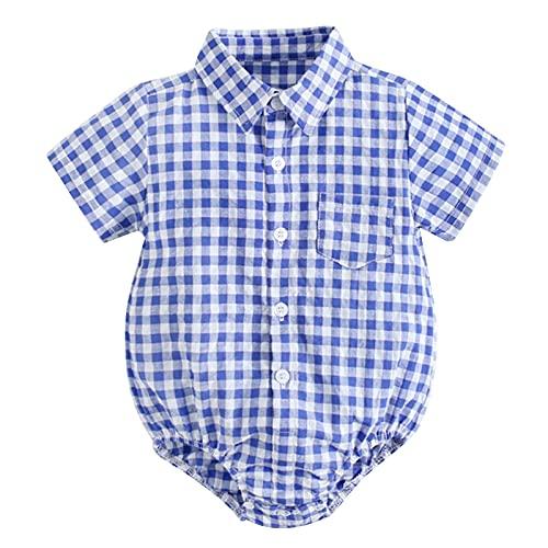 Agoky Baby Jungen Trachten Hemd Karriert Strampler Shirt Tops Kinder Trachtenhemd Kleinkind Overalls Freizeithemd Karohemd Blau B 12-18 Monate