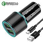 【タイムセール】Mindsky Quick Charge 3.0 カーチャージャー Dual USB アルミ合金 車載充電器が激安特価!