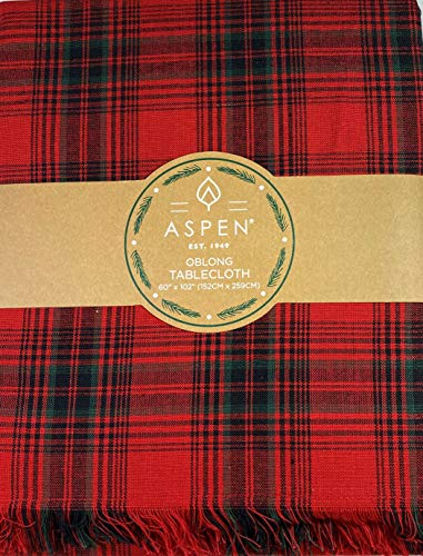 Aspen Home Christmas Plaid Fabric Tablecloth 100% Cotton Red 60 x 102