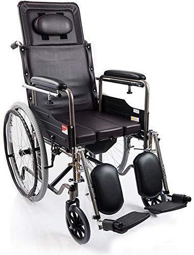 HYY-YY Silla de ruedas manual plegable multifuncional para silla de ruedas con ángulo ajustable, con una tabla de mesa y una bandeja de cama