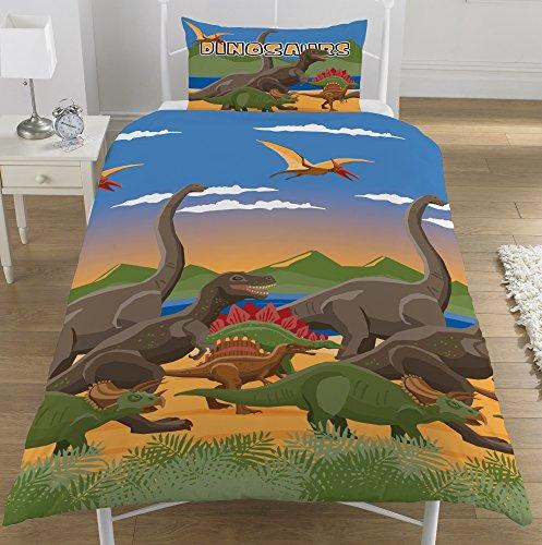 """KidCollection Bettbezug für Einzelbett/Doppelbett, Dinosaurier-Welt-Motiv, Dinoherde, Bettwäsche-Set """"Jurassic"""" (Einzelbettbezug)"""