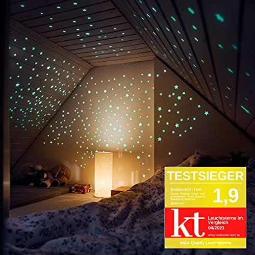M&A Kids 400 Leuchtsterne selbstklebend in DREI Größen – Sternenhimmel für sorglosen Schlaf – Leuchtende Sterne für Kinderzimmer - Leuchtsterne Kinderzimmer Sternhimmel