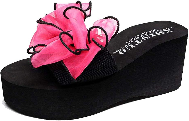 Elsa Wilcox Women Anti-Slip Outdoor Summer Beach Wedge Sandals Lace Bowknot Bohemian Platform Slide Sandals