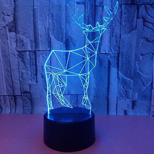 3D Kitz LED-nachtlampje, nachtkastje lampje 7 kleuren kunnen op afstand worden geraakt en het licht van de USB-kabelkinderen kan kleursluippplichten en bureaudecoratie veranderen.