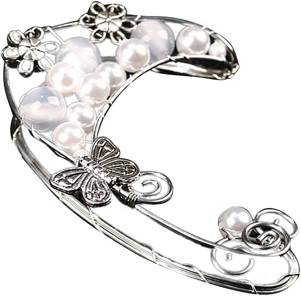 1Pc Hollow Flower Leaf Elf Faux Pearl Ear Cuff Clip On Earring Party for Women, Drop Ear Stud Earrings Jewelry Women Girls Gift-