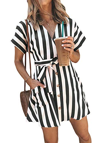 HOTAPEI Womens Fashion Stripe Short Sleeve Wrap V-Neck Casual Summer Button Front Mini Short Shirt Dress with Belt Black Striped Small