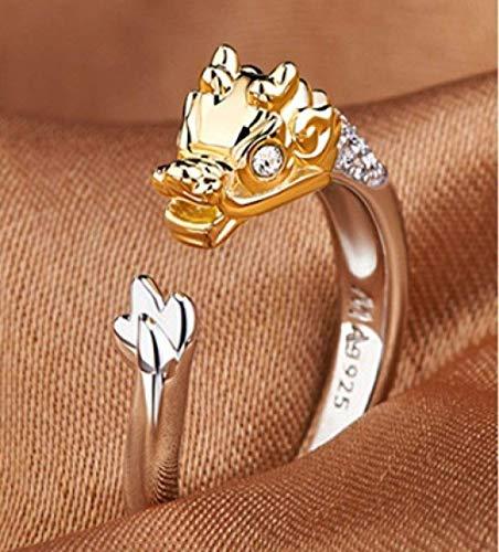 Anillos abiertos para mujeres damas ajustable lindo dragón micro incrustaciones anillo de circonio anillo del zodiaco de plata animales accesorios de joyería para celebración de aniversario regalo