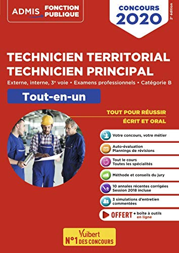 Concours Technicien territorial - Technicien principal - Catégorie B - Tout-en-un - Externe, interne, 3e voie, examens professionnels - Concours 2020
