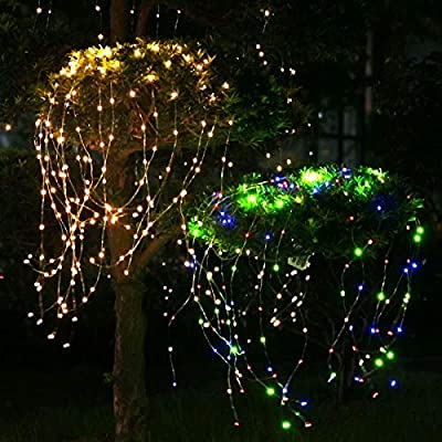 Bolansi Decorative Twinkle Starry LightsWaterfall Vine String Lights Silver Wire Branch Lights for Garden Outdoor Christmas Tree White