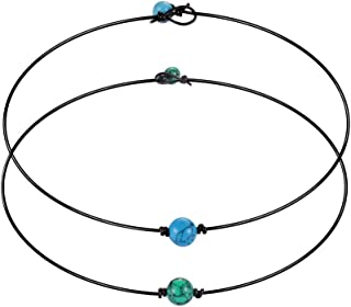Blue Turquoise Choker Necklace Genuine Leather Cord Necklace Jewelry Set