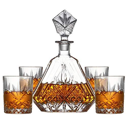 NBSXR Decantador de Whisky y Vaso de 5 Piezas, 100% sin Plomo, Corte irlandés Triangular, para Licor escocés, borbón o Vino/Set con 4 Vasos de Whisky