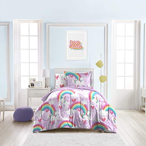 dream FACTORY Kids 5-Piece Complete Set Easy-Wash Super Soft Microfiber Comforter Bedding, Twin, Purple Unicorn Rainbow