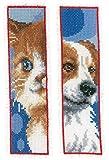 Vervaco Lesezeichen Katz & Hund, 2er Set, Zählmuster Patrón de Punto de Cruz, algodón, Multicolor, 6.0 x 20.0 x 0,3 cm, 2 Unidades