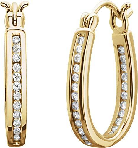 14K Yellow Gold 1/3 ctw Diamond Inside/Outside Hoop Earrings