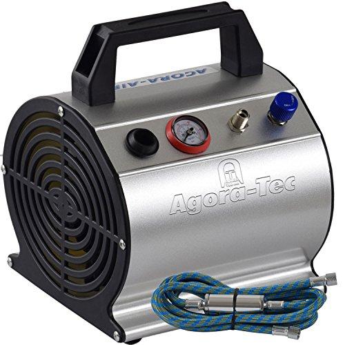 Agora-Tec® AT- Airbrush Compressor AT-AC-03, Kompressor für Airbrushanwendungen mit 3,1 bar und 20l/min, inkl. 0.3l Tank, inkl. Kondenswasserfilter, Druckregler, 1,9m Schlauch und Manometer