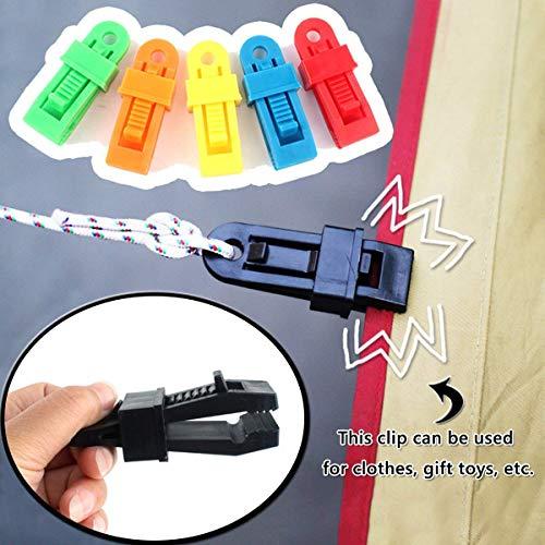 Aestm - 12 pinzas para tienda de campaña, de plástico, para camping, al aire libre, accesorios para tienda de campaña (multicolor)