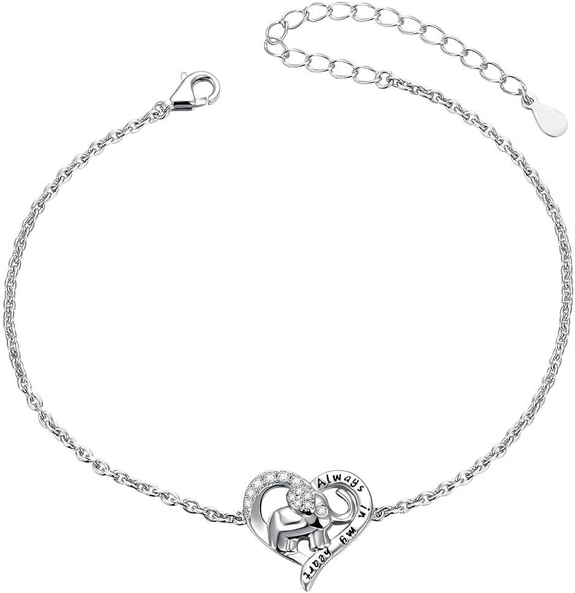 Sterling Silver Forever Love Animal Heart Adjustable Elephant Un