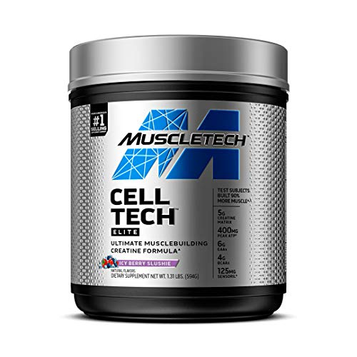 Creatine Monohydrate Powder   MuscleTech Cell-Tech Elite Creatine Powder   Post Workout Recovery Drink   Muscle Builder for Men & Women   Creatine HCl Supplement   ICY Berry (20 Servings)