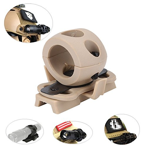 Helmet Flashlight MountPortable Helmet Flashlight Holder Mount Plastic Torch Mount Flashlight Bracket for Fast Helmet RailTan
