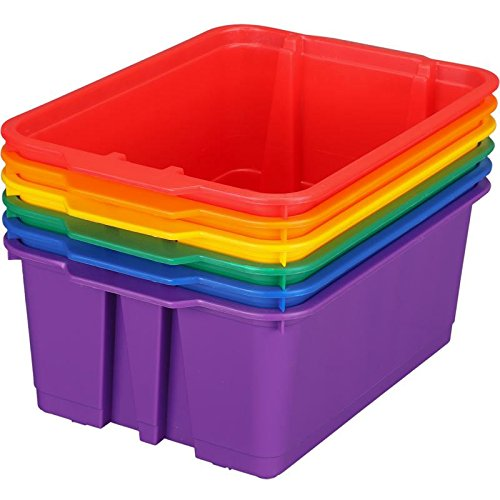 Really Good Stuff Stackable Plastic Book and Organizer Bins for Classroom or Home Use – Sturdy Plastic Baskets in Fun Rainbow Colors (Set of 6)