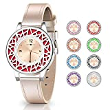 Christmas Birthday Gifts for Women, Essential Oil Bracelets Women Watch, Golden Leather Band Aromathery Diffuser Bracelet Women Wrist Watch with 8pcs Washable Pads for Coworkers Girl Teens