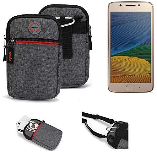 K-S-Trade® Gürtel-Tasche Für Lenovo Moto G5 Dual-SIM Handy-Tasche Holster Schutz-hülle Grau Zusatzfächer 1x