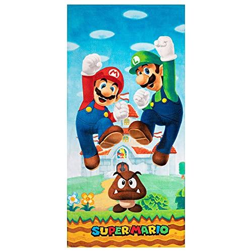 WFQTT Super Mario – Toalla de playa para niños – muy suave 100% poliéster Terciopelo de rizo de fácil cuidado (75 x 150 cm)