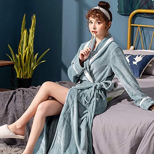 nohbi Albornoz Largo con Cinturón Hotel,Otoño e Invierno engrosadas Albornoces de Franela Pareja,Hombres y Mujeres Pijamas Servicio a Domicilio-Azul B_M,Bata de baño de algodón 100%