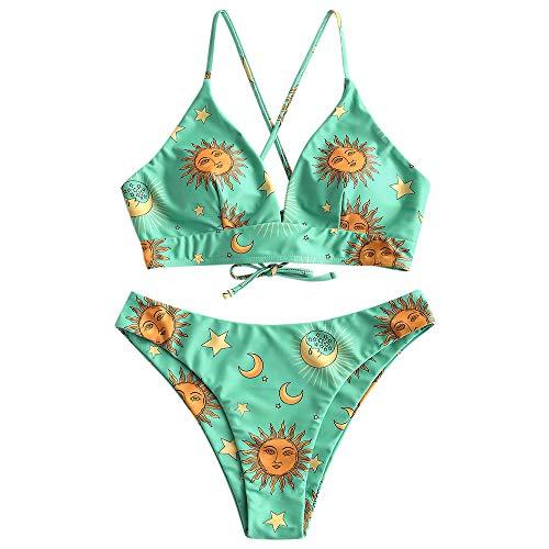 Zaful Star Sun Moon Print Badeanzug für Frauen Rücken Criss Cross Schnürung Triangle Bikini -  Grün -  Small