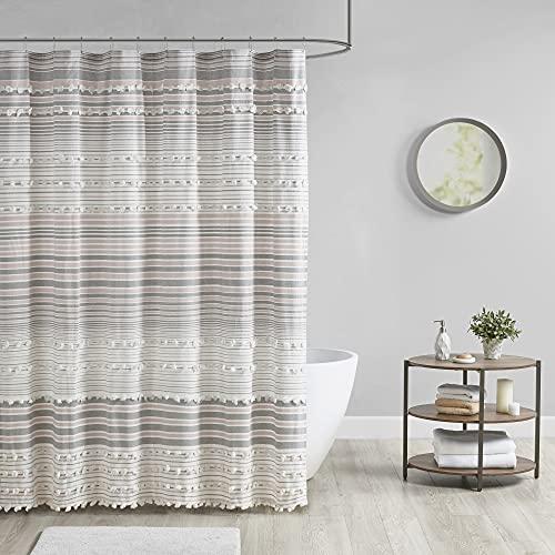 Urban Habitat Calum Duschvorhang aus Jacquard-Poms, maschinenwaschbar, traditionelles Badezimmer-Dekor, Badewannensichtschutz, 178 x 182,9 cm, Blush