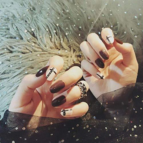 CSCH Faux ongles Femmes Vintage Style Simple Faux Ongles Filles Mode Noir Bande Mixte Couleur Faux Ongles Tête Ronde DIY Nail Art Conseils avec de la Colle