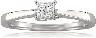 18k White Gold Princess-Cut Solitaire Diamond Engagement Ring (1/4 cttw, I-J, I1-I2)