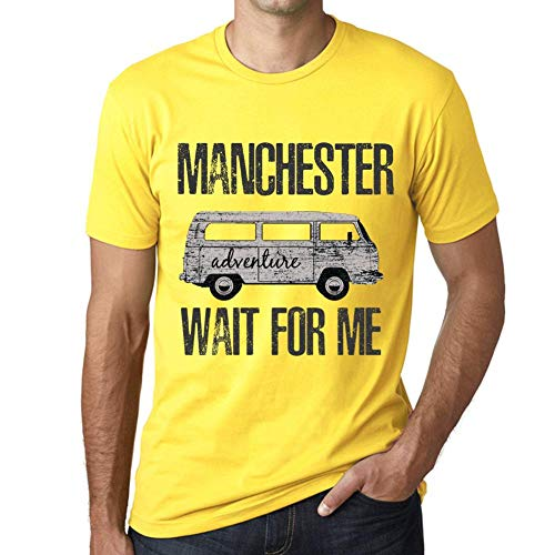 One in the City Hombre Camiseta Vintage T-Shirt Gráfico Manchester Wait For Me Amarillo