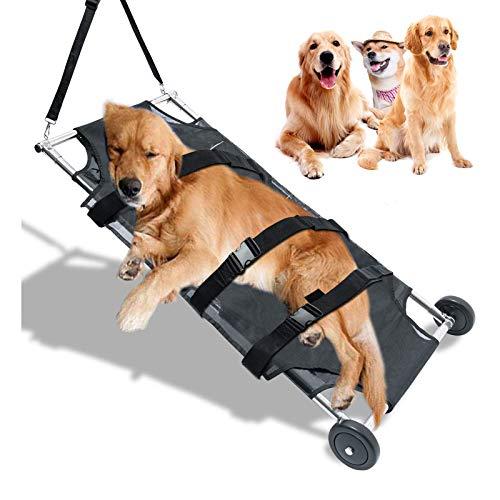 NXL Camilla Plegable para Animales Transporte De Mascotas Carrito para Perros De Acero Inoxidable Carrito para Mascotas Camilla Plegable para Mascotas con Ruedas Silenciosas