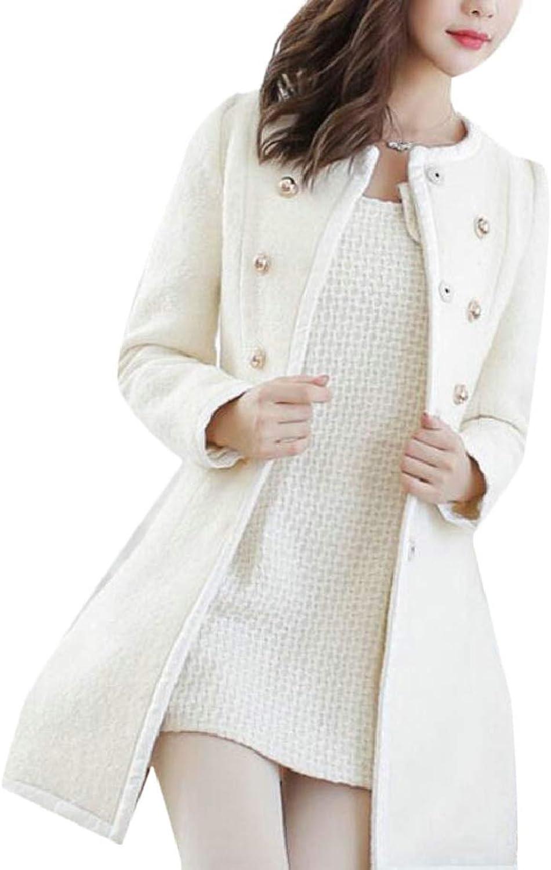 LKCENCA Womens Thicken DoubleBreasted Thicken Woolen Overcoat Trench Coat