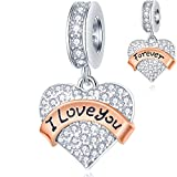 I Love You Forever Heart Charms in 925...