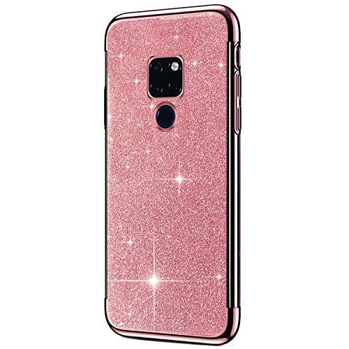 Saceebe Compatible avec Huawei Mate 20 Coque Housse Glitter Paillette Brillant Strass Diamant Transparent Gel Silicone TPU Souple Ultra Mince Etui Chrome Placage Bumper Coque,Or Rose