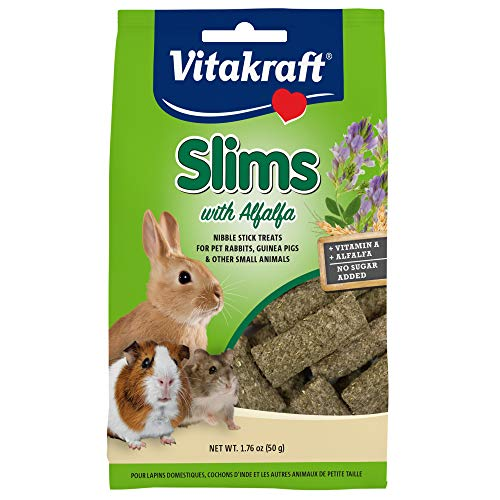 Vitakraft Slims with Alfalfa Rabbit, Guinea Pig & Small Animal Nibble Stick Treat, 1.76 oz