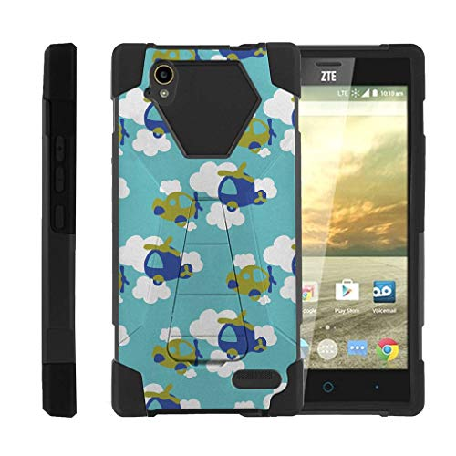TurtleArmor | Compatible with ZTE Warp Elite Case | N9518 [Dynamic Shell] Hard Hybrid Cover Absorber Resistant Soft Silicone Kickstand - Airplanes in The Sky