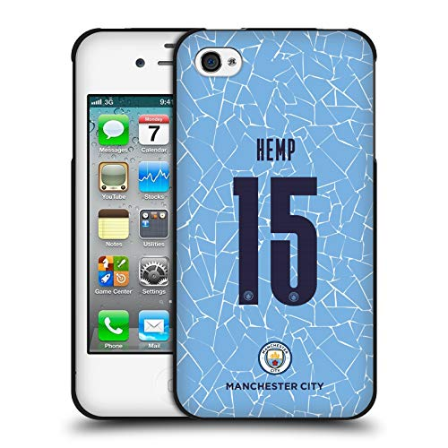 Head Case Designs Oficial Manchester City Man City FC Cáñamo Lauren 2020/21 Kit Hogar Mujer Grupo 1 Funda de Gel Negro Compatible con Apple iPhone 4 / iPhone 4S