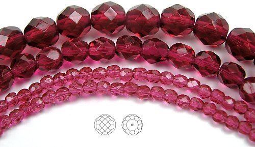 6mm (68) Fuchsia, Czech Fire Polished Round Faceted Glass Beads