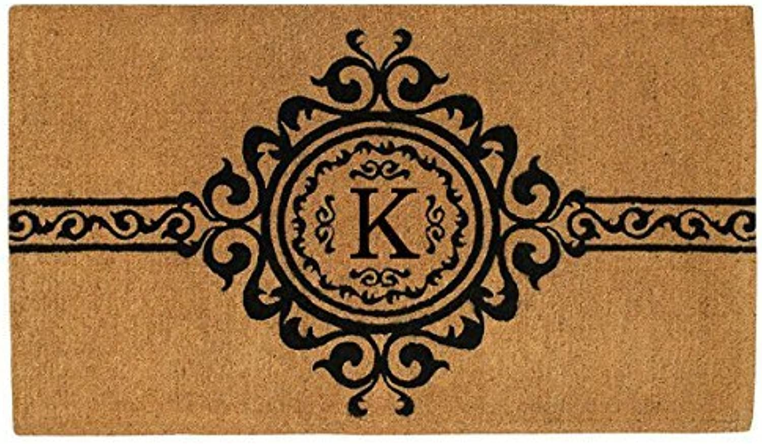 Home & More 180071830K Garbo Extra-Thick Doormat, 18  x 30  x 1.50 , Monogrammed Letter K, Natural Black