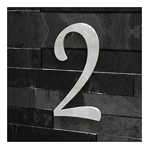 Número 2 para casas (fuente clásica), RAL 9007 grey (grey aluminium silver) shiny, 30 cm