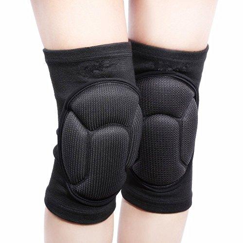 1paio di ginocchiere, supportano e proteggono il ginocchio, per pallavolo, rugby, Black