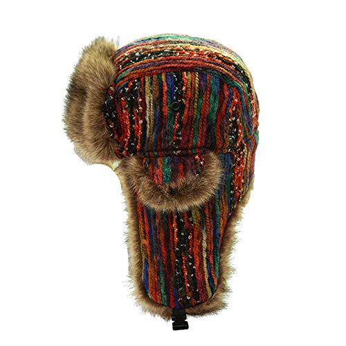 Russen Mütze Herren Russische Ushanka Hüte Mit Ohrenklappe Frauen Bunte Bomber Hüte Damen Winddicht Schnee Dicker Warme Winterkappen-Bunt_Hat