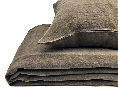 JOWOLLINA Natural Linen Stonewashed Bed Linen, 100% linen 'Stonewashed', Olive brown, 135x200 cm, 80x80 cm