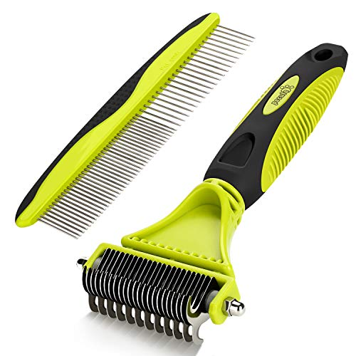 Dematting Comb Grooming Tool Kit for Dog & Cat Double Sided Blade Rake Comb with Grooming Brush Loose Undercoat, Mats, Tangles and Knots Removal for Medium Long Thick Pet